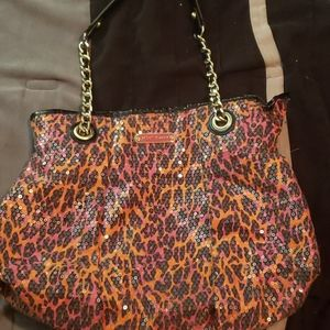 Sequined cheetah print purse